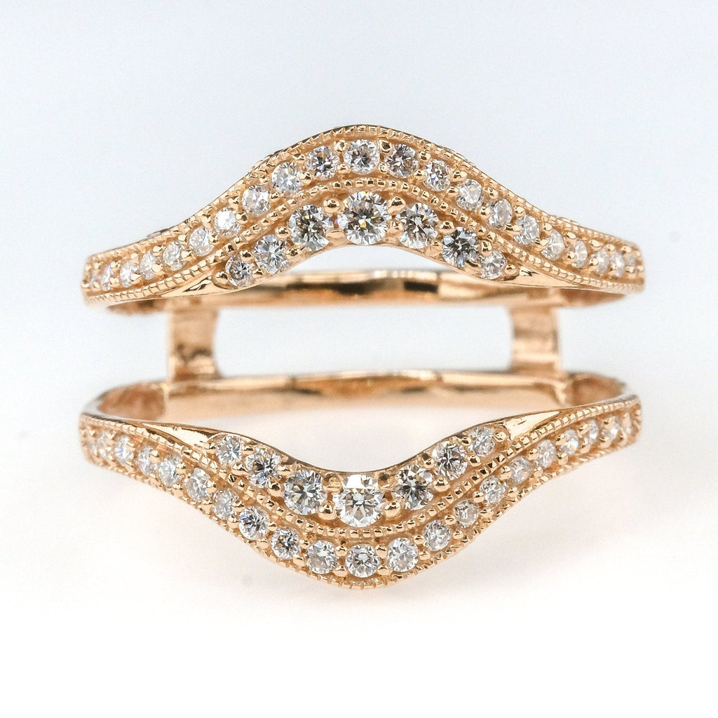 0.50ctw Diamond Accented Ring Guard in 14K Rose Gold Wedding Rings Oaks Jewelry