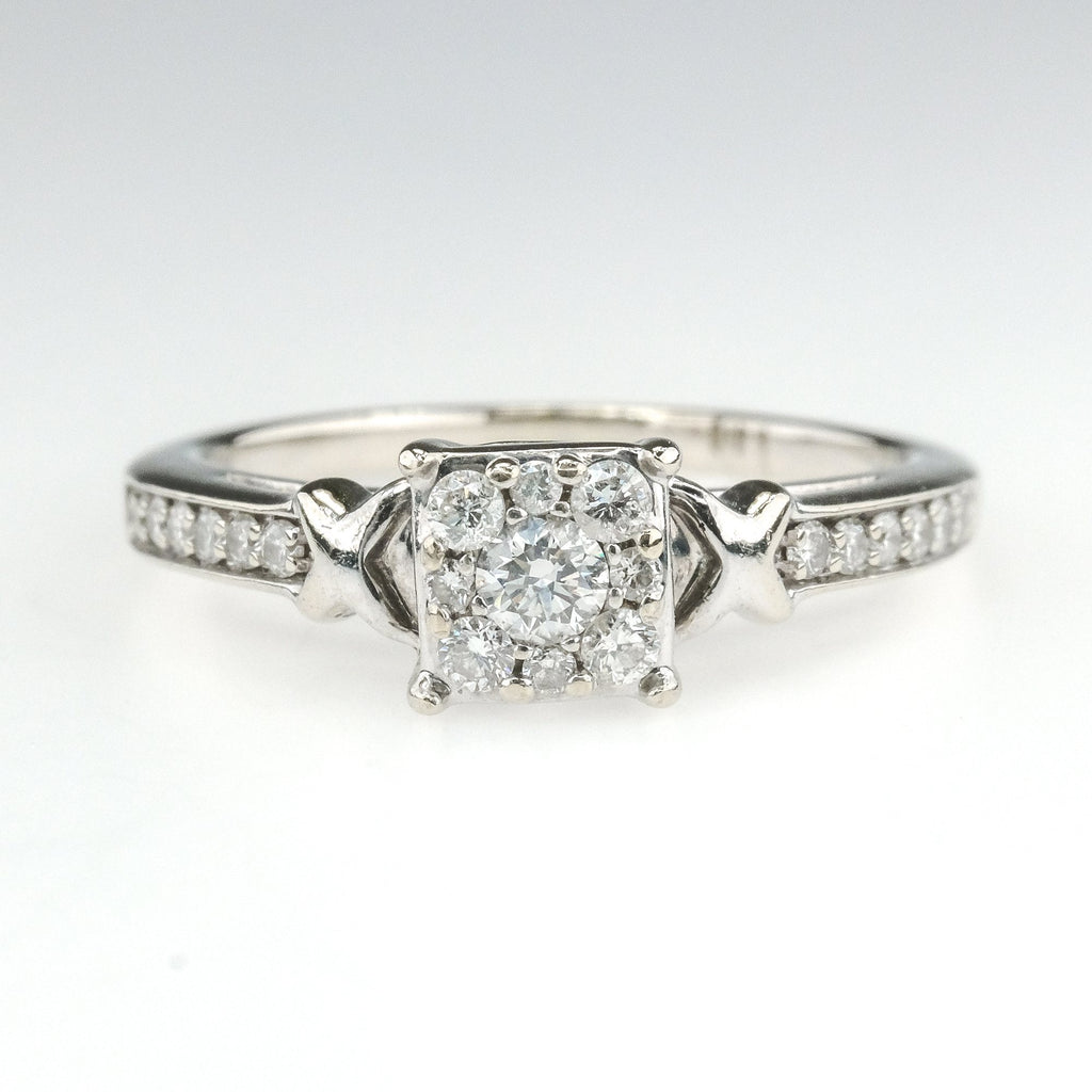 0.50ctw Diamond Cluster w/ Side Accents Engagement Ring in 14K White Gold Engagement Rings Oaks Jewelry