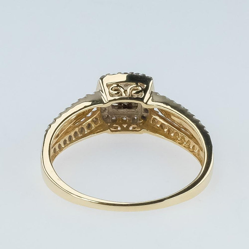 0.50ctw Diamond Cluster with Halo & Side Accents Ring in 10K Yellow Gold Engagement Rings Oaks Jewelry