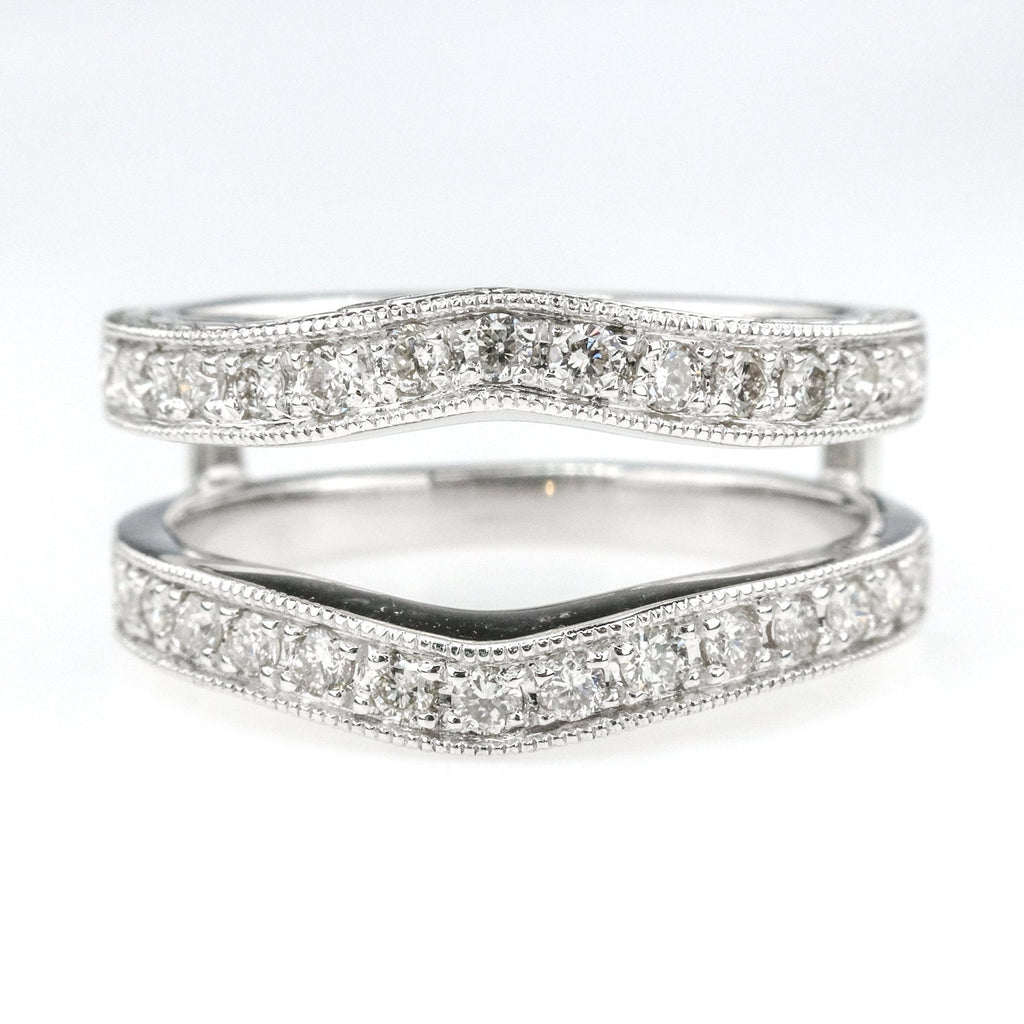 0.50ctw Diamond Contoured Wedding Ring Guard Enhancer in 14K White Gold Wedding Rings Oaks Jewelry