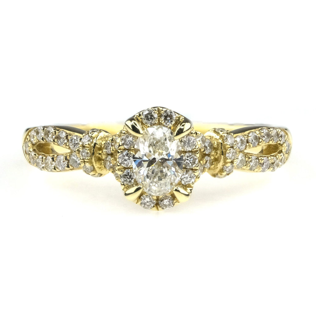 0.50ctw Oval Diamond Halo with Side Stones Engagement Ring in 10K Yellow Gold Engagement Rings Helzberg