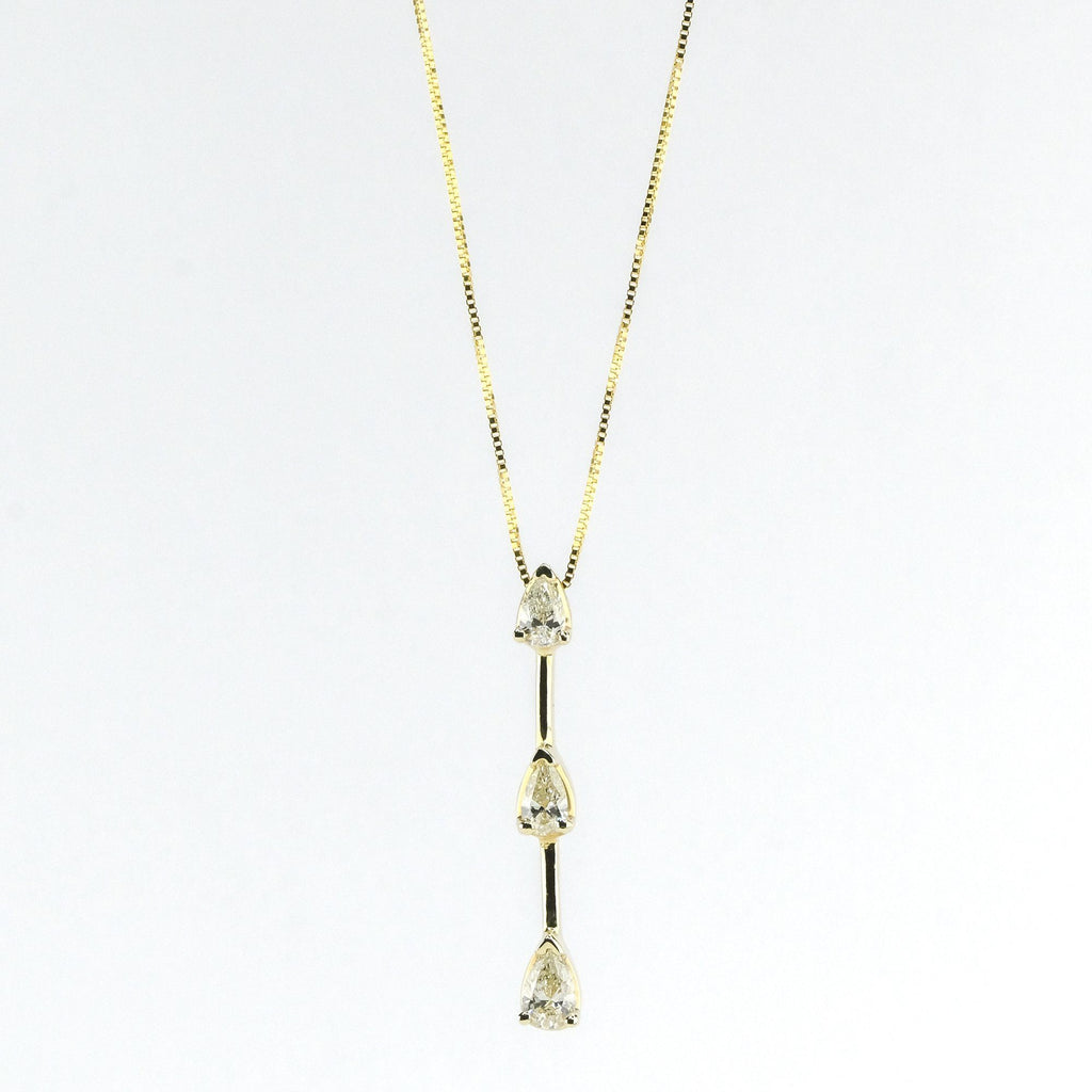 "0.50ctw Pear Diamond Graduated Three Stone Drop 18"" Necklace in 14K Yellow Gold Pendants with Chains Oaks Jewelry"