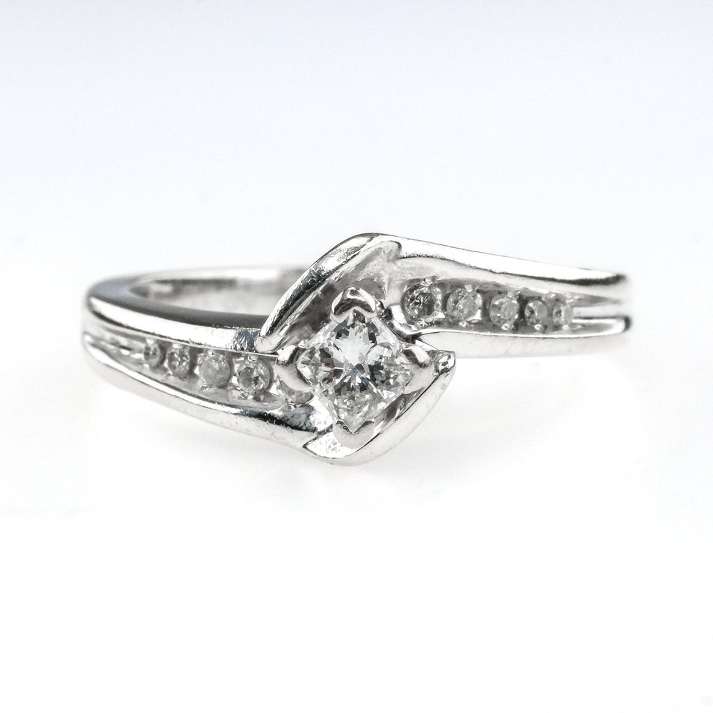 0.50ctw Princess Cut Diamond Swirl Bypass Pave Engagement Ring in 14K White Gold Engagement Rings Oaks Jewelry