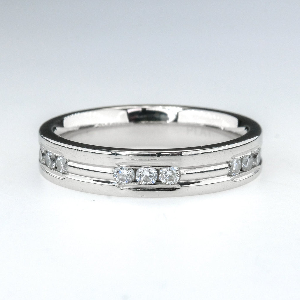 0.50ctw SI1/H Round Diamond Channel Set 4mm Comfort Fit Wedding Band in Platinum Wedding Rings Oaks Jewelry
