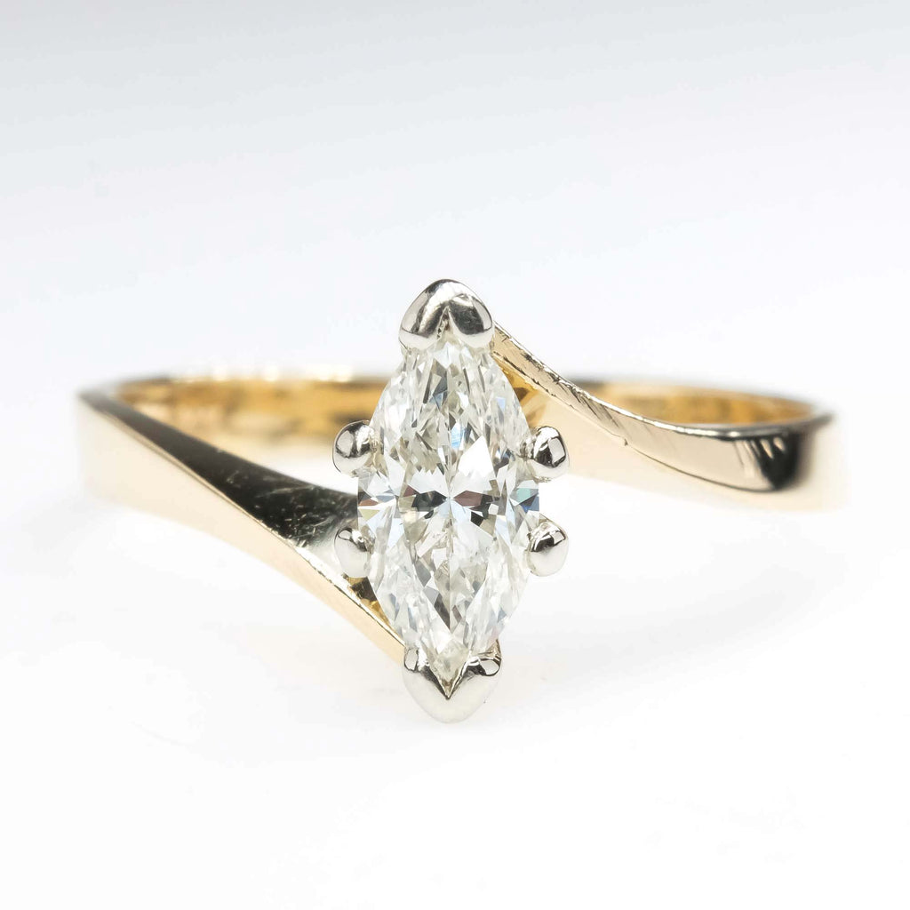 0.53ct Marquise Diamond Bypass Solitaire Engagement Ring in 14K Yellow Gold Engagement Rings Oaks Jewelry
