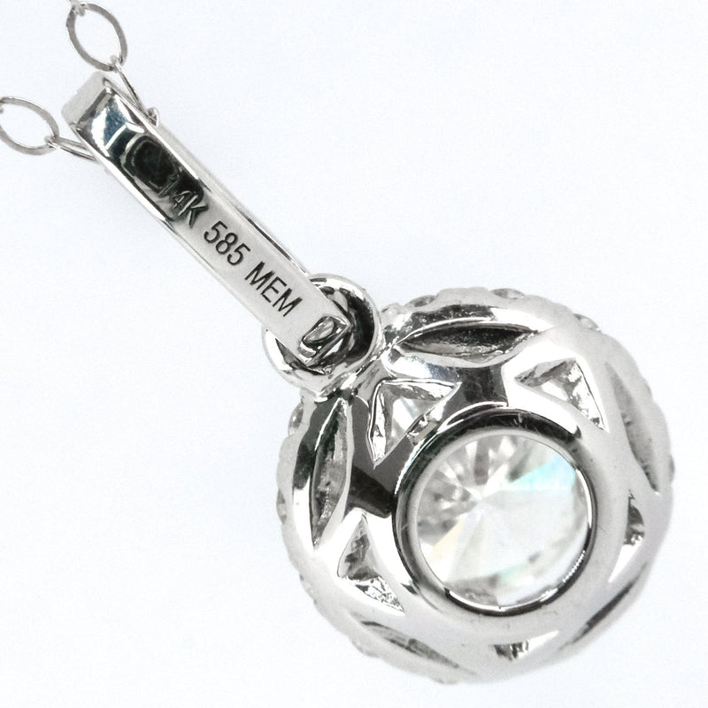 "0.55ct Round Diamond w/ Halo Accented Pendant 18"" Necklace in 14K White Gold Pendants with Chains Oaks Jewelry"