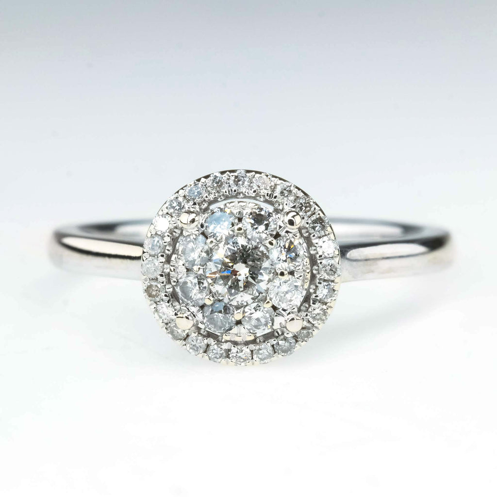 0.55ctw Round Cluster Halo Diamond Engagement Ring in 10K White Gold Engagement Rings Oaks Jewelry