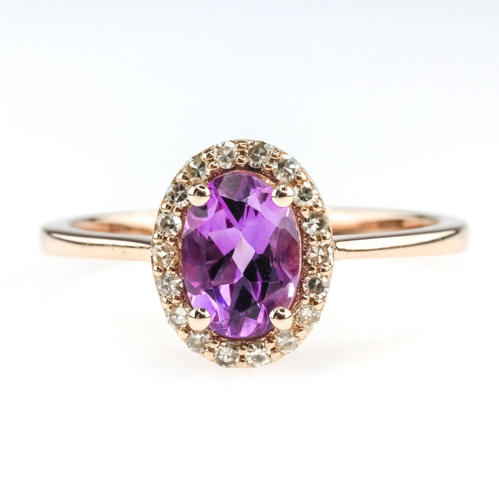 0.60ct Oval Cut Amethyst w/ Diamond Halo Accents Gemstone Ring in 14K Rose Gold Gemstone Rings Oaks Jewelry