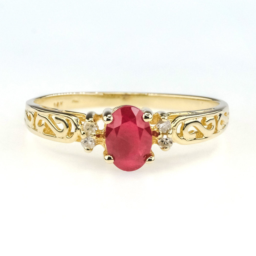 0.60ct Oval Natural Ruby w/ Diamond Accents Gemstone Ring in 14K Yellow Gold Gemstone Rings Oaks Jewelry