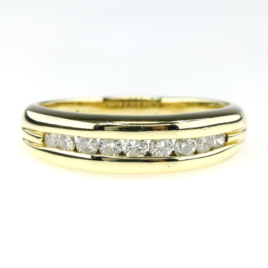 0.60ctw Round Diamond Accented Channel Set Wedding Band Ring in 14K Yellow Gold Wedding Rings Oaks Jewelry
