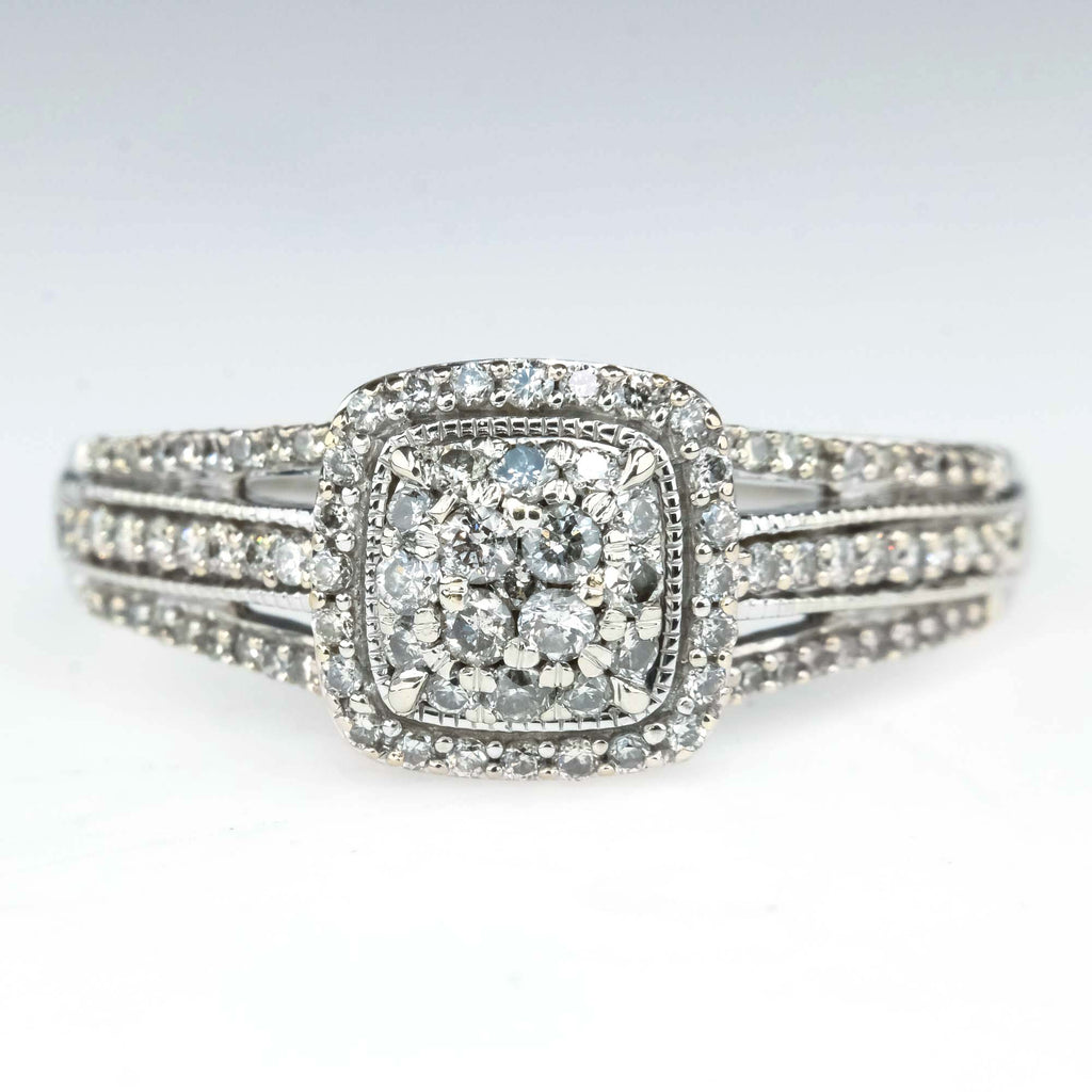 0.62ctw Cluster Halo & Split Shank Diamond Engagement Ring in 10K White Gold Engagement Rings Oaks Jewelry