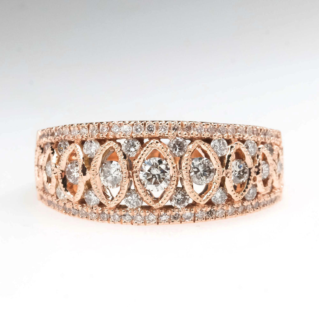 0.62ctw Diamond Anniversary Filigree Wide Ring in 14K Rose Gold Diamond Rings Oaks Jewelry