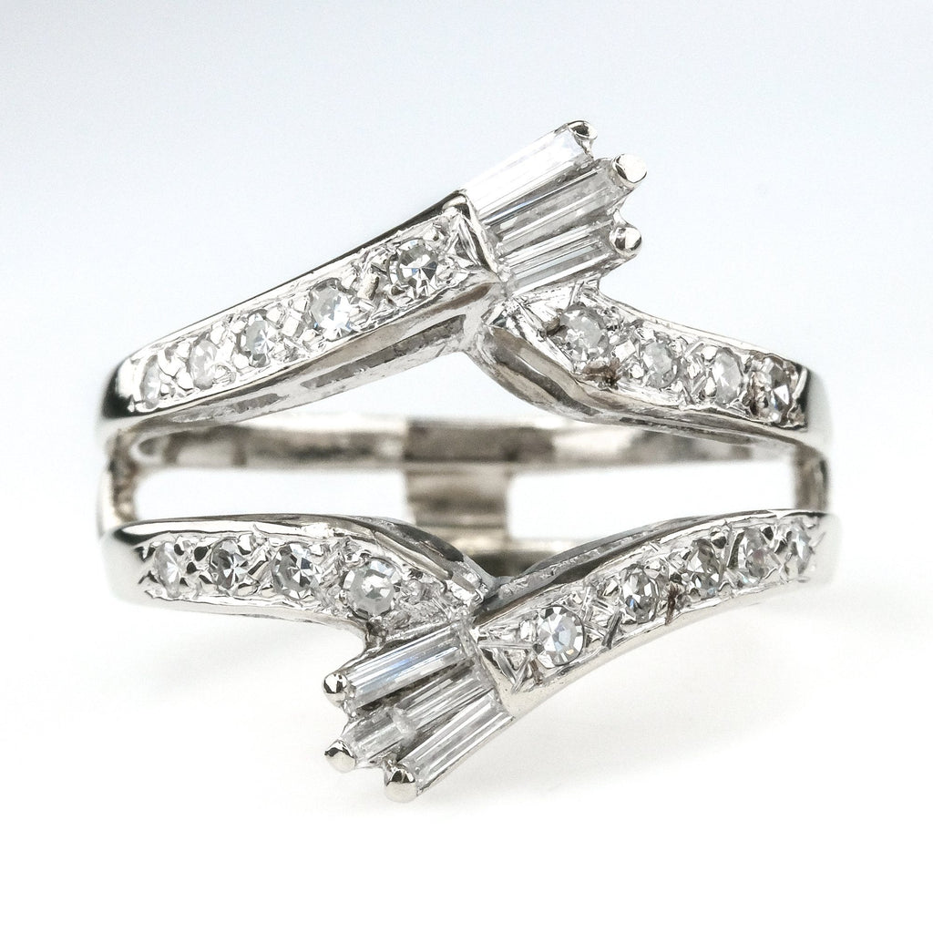 0.64ctw Round & Baguette Diamond Accented Contoured Ring Guard 14K White Gold Wedding Rings Oaks Jewelry