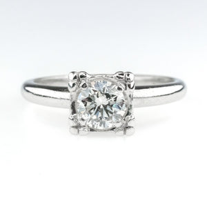 0.68ct Round SI2/H Diamond Solitaire Vintage Engagement Ring in Platinum Engagement Rings Oaks Jewelry
