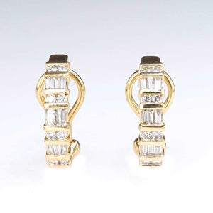 0.68ctw Round & Baguette Diamond Omega Back J-Hoop Earrings in 14K Yellow Gold Earrings Oaks Jewelry