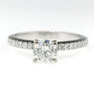 0.70ct Round Brilliant Diamond w/ Side Accents Engagement Ring in 18K White Gold Engagement Rings Oaks Jewelry