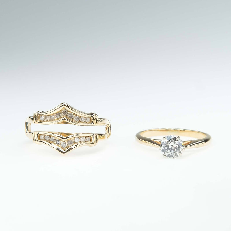 0.70ct Round Diamond Solitaire & Accented Jacket Bridal Set in 10K Yellow Gold Bridal Sets Oaks Jewelry