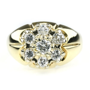 0.70ctw Diamond Accented Men's Cluster Ring in 14K Yellow Gold Diamond Rings Oaks Jewelry