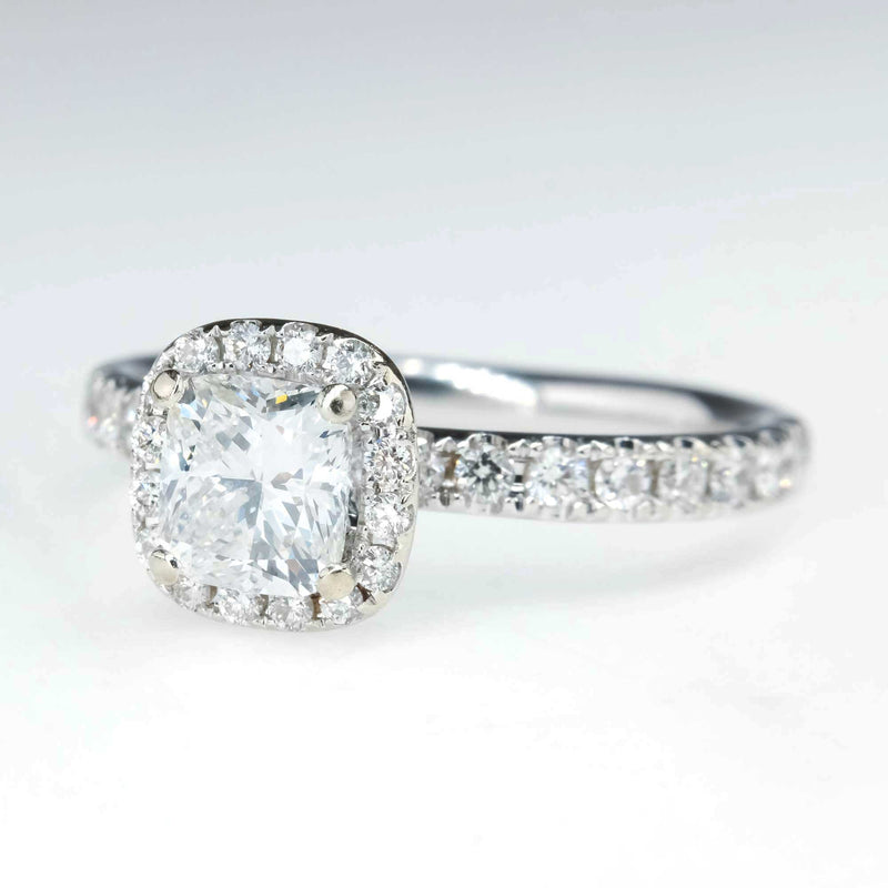 0.75ct Cushion Halo Engagement Ring in 14K White Gold Engagement Rings Oaks Jewelry