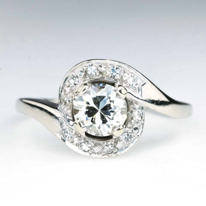 0.75ct Old European Bypass Swirl Diamond Engagement Ring in 14K White Gold Engagement Rings Oaks Jewelry