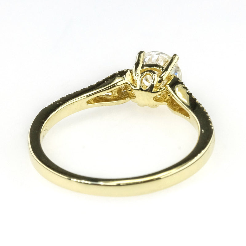 0.76ct GIA Round SI2/H Diamond w/ Side Accents Engagement Ring 14K Yellow Gold Engagement Rings Oaks Jewelry