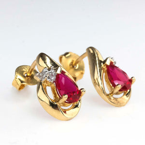 0.80ctw Created Ruby & Diamond Freeform Stud Earrings in 10K Yellow Gold Earrings Oaks Jewelry