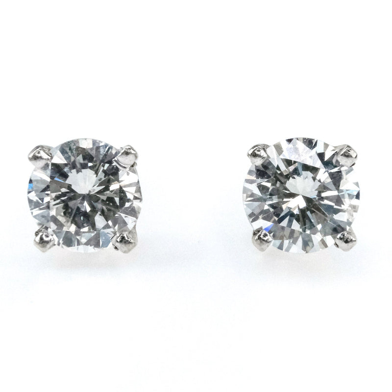 0.80ctw SI2/H Round Diamond Solitaire Stud Earrings in 14K White Gold Earrings Oaks Jewelry