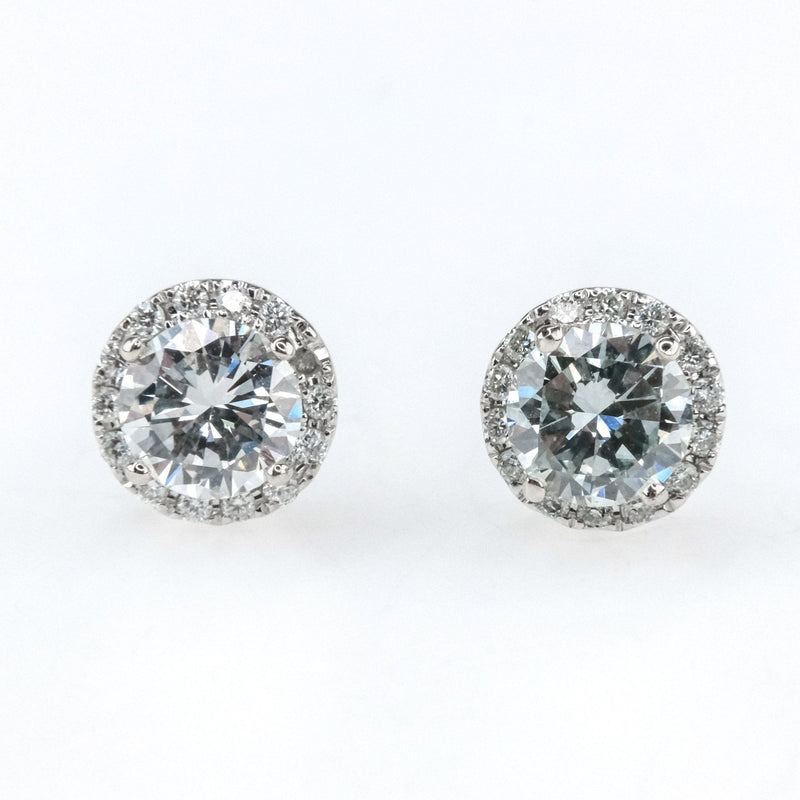 0.82ctw SI2/H Round Diamond Halo Accented Stud Earrings in 14K White Gold Earrings Oaks Jewelry