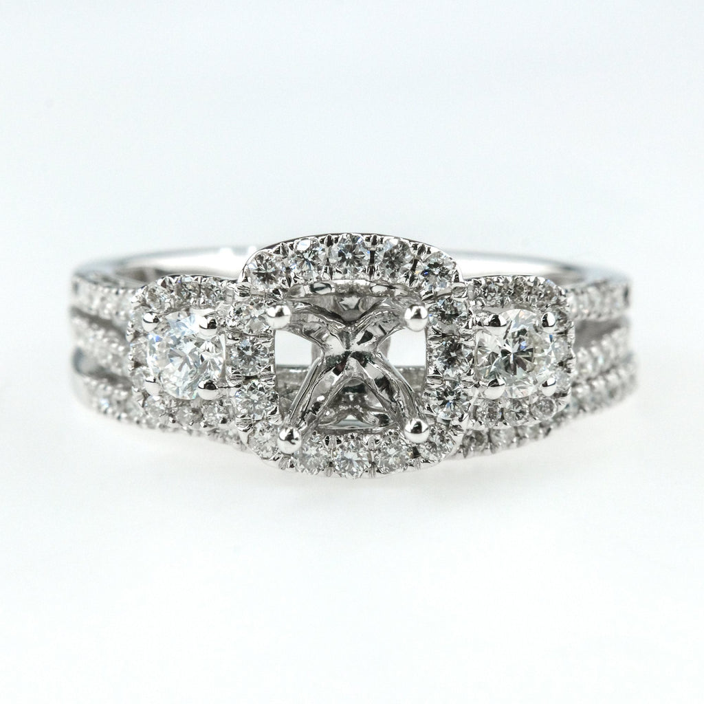 0.83ctw Diamond Accented Semi-Mount Engagement Ring Bridal Set in 14K WhiteGold Bridal Sets Oaks Jewelry