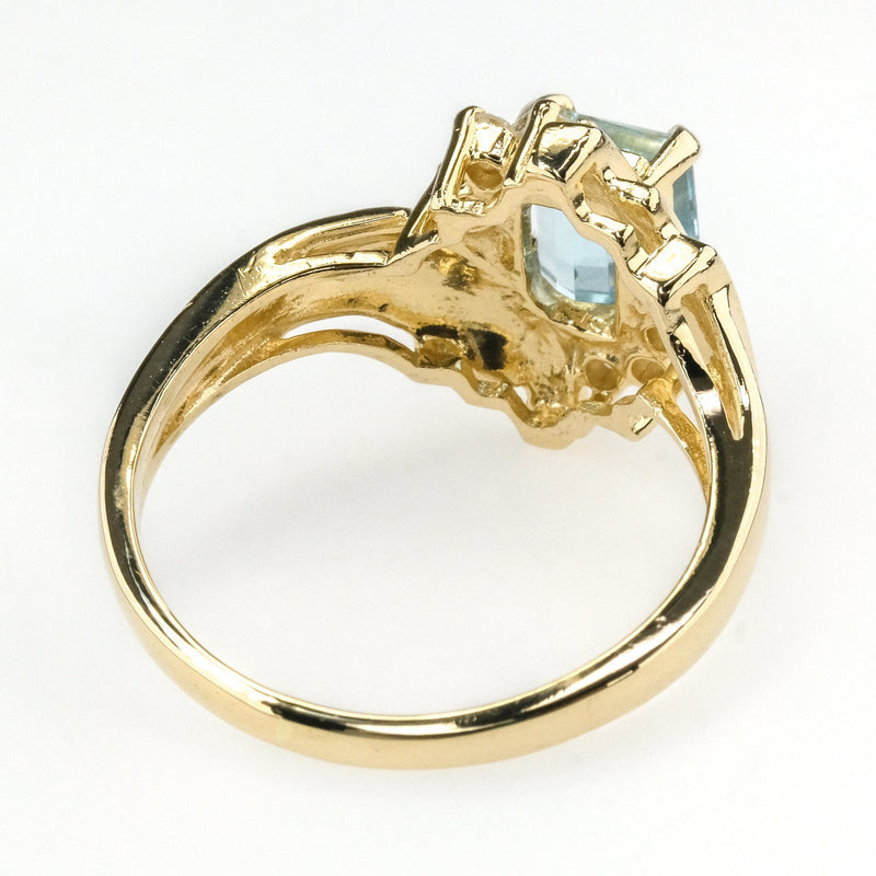 0.85ct Aquamarine w/ Diamond Accents Bypass Gemstone Ring in 14K Yellow Gold Gemstone Rings Oaks Jewelry