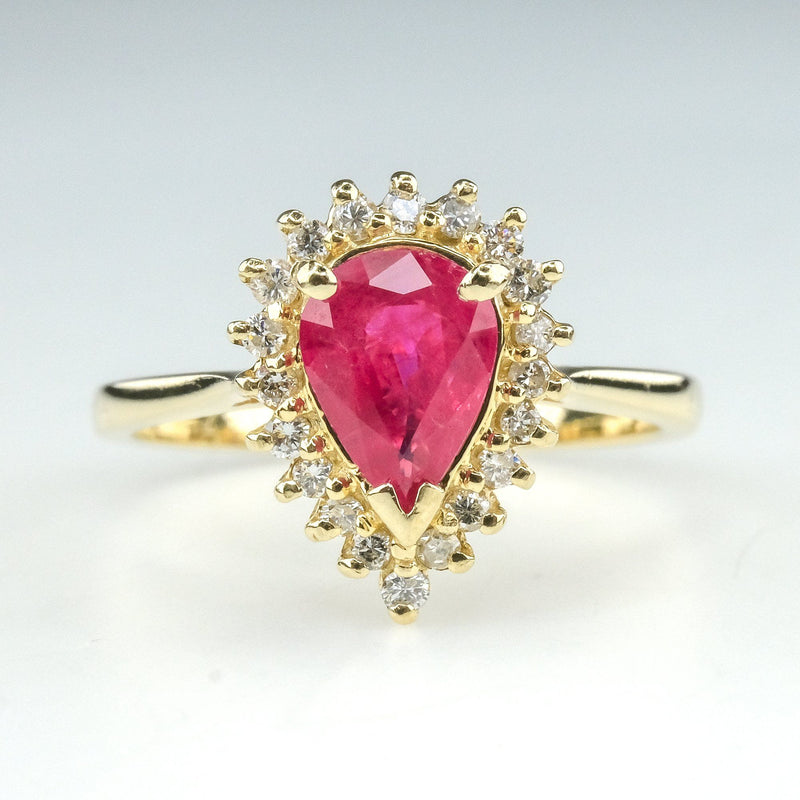 0.85ct Pear Glass Filled Ruby & Diamond Halo Gemstone Ring in 14K Yellow Gold Gemstone Rings Oaks Jewelry