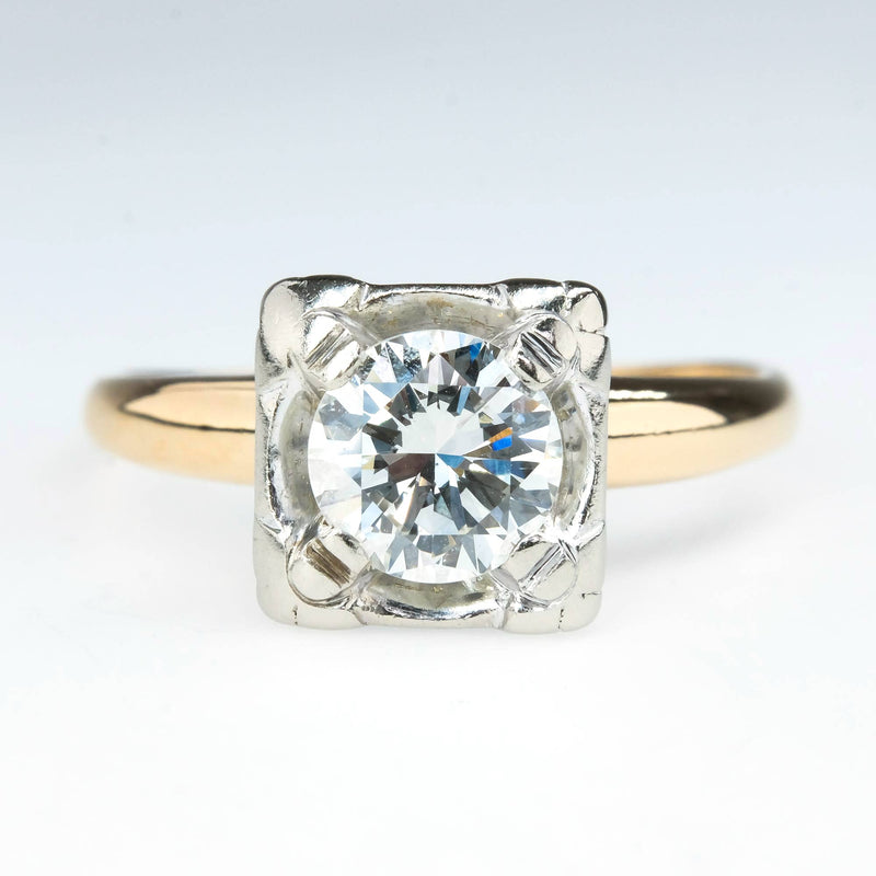 0.85ct Round Diamond Vintage Solitaire Engagement Ring in 14K Two Tone Gold Engagement Rings Oaks Jewelry