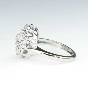 0.85ctw Round Cut Diamond Vintage Cluster Dome Ring in 14K White Gold Diamond Rings Oaks Jewelry