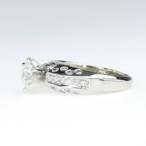 0.89ct Round Diamond with Accents Engagement Ring in 14K White Gold Engagement Rings Oaks Jewelry