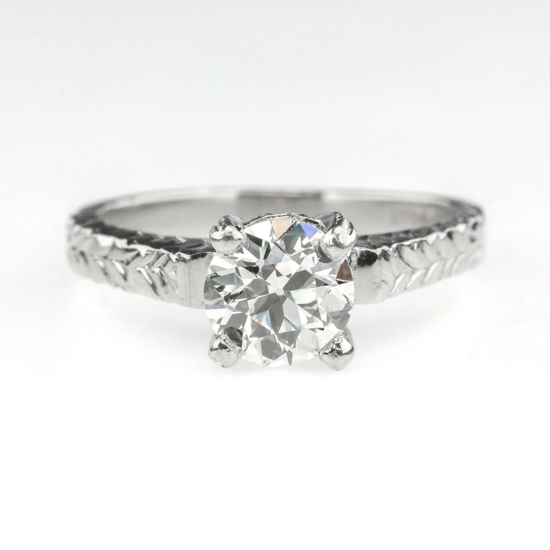 0.90ct Certified VVS2/K Round Diamond Solitaire Engagement Ring in Platinum Engagement Rings OaksJewelry