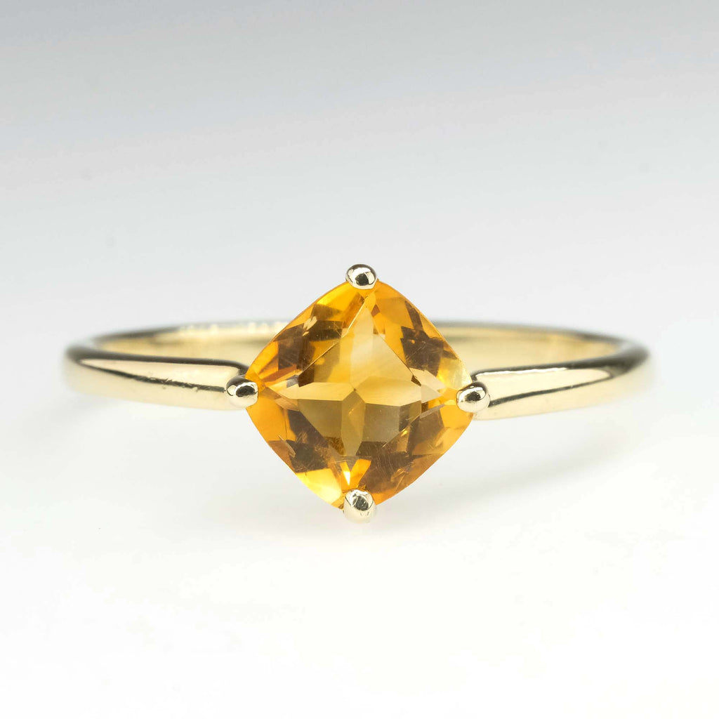 0.90ct Cushion Citrine Solitaire Ring in 10K Yellow Gold Gemstone Rings Oaks Jewelry