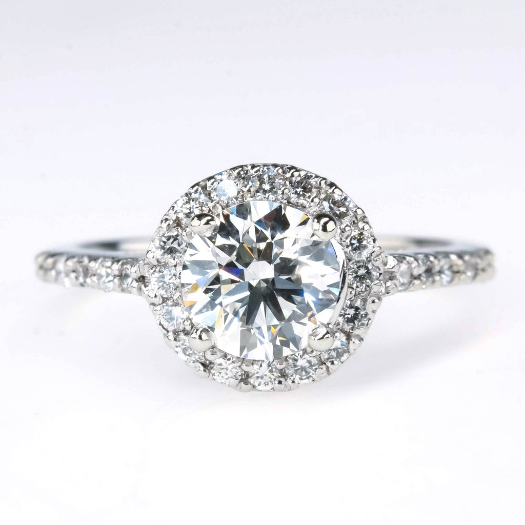 0.90ct Round Diamond with Halo & Side Accents Engagement Ring in 14K White Gold Engagement Rings Oaks Jewelry