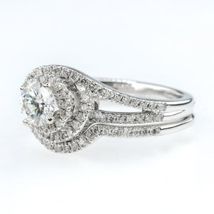 0.90ctw Round Diamond Swirl Halo Split Shank Accent Bridal Set in 14K White Gold Bridal Sets Oaks Jewelry