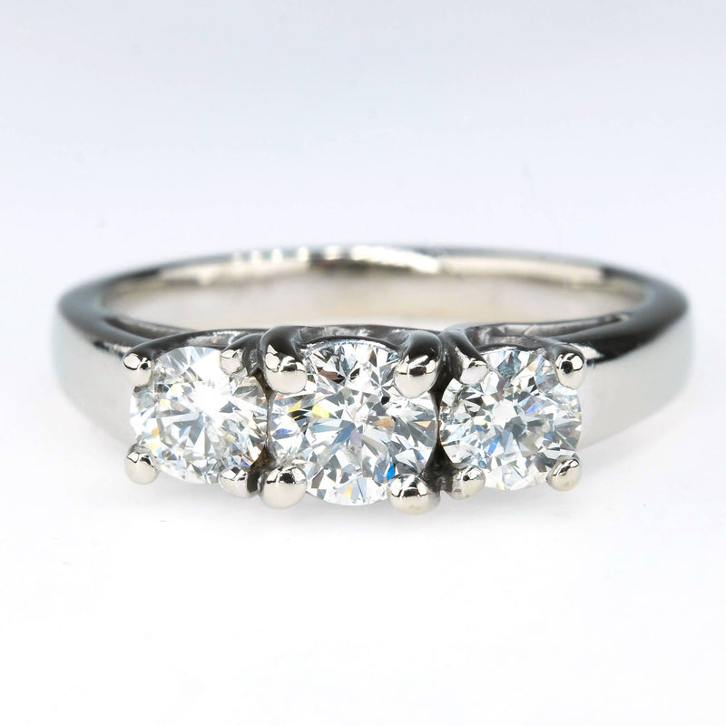 0.90ctw Round Diamond Three Stone Engagement Ring in 14K White Gold Engagement Rings Oaks Jewelry