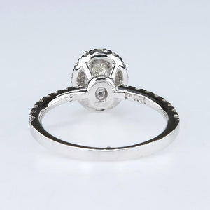 0.91ct Modified Oval Diamond Halo & Side Accents Engagement Ring 14K White Gold Engagement Rings Oaks Jewelry