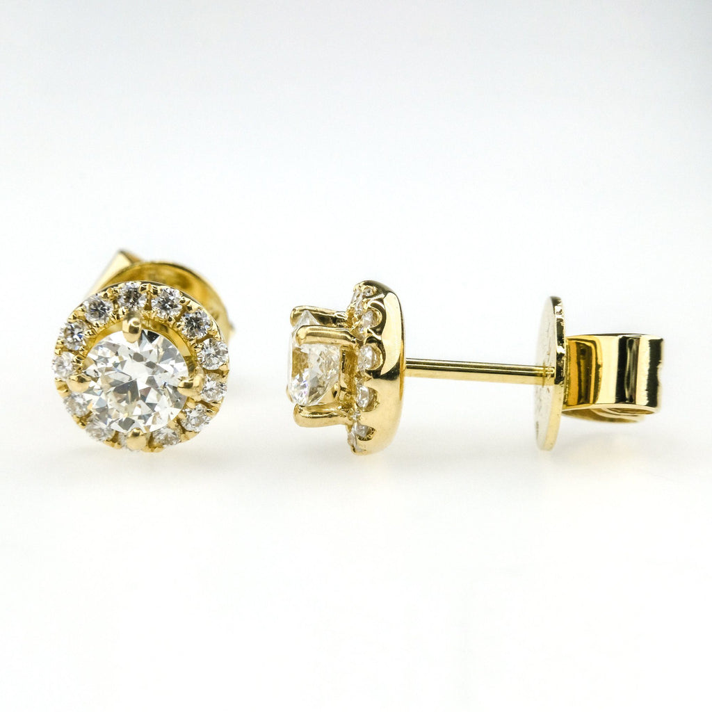 0.91ctw Round Brilliant Diamond Accented Halo Stud Earring in 18K Yellow Gold Earrings Oaks Jewelry