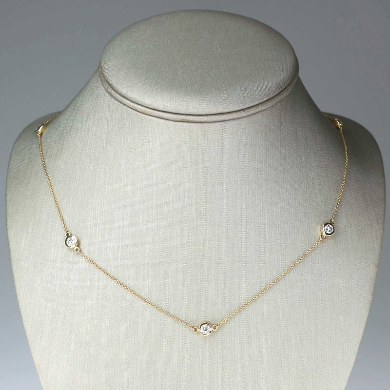 "0.92ctw Diamond Bezel Set Stationed 18.5"" Necklace in 14K Yellow Gold Necklaces Oaks Jewelry"