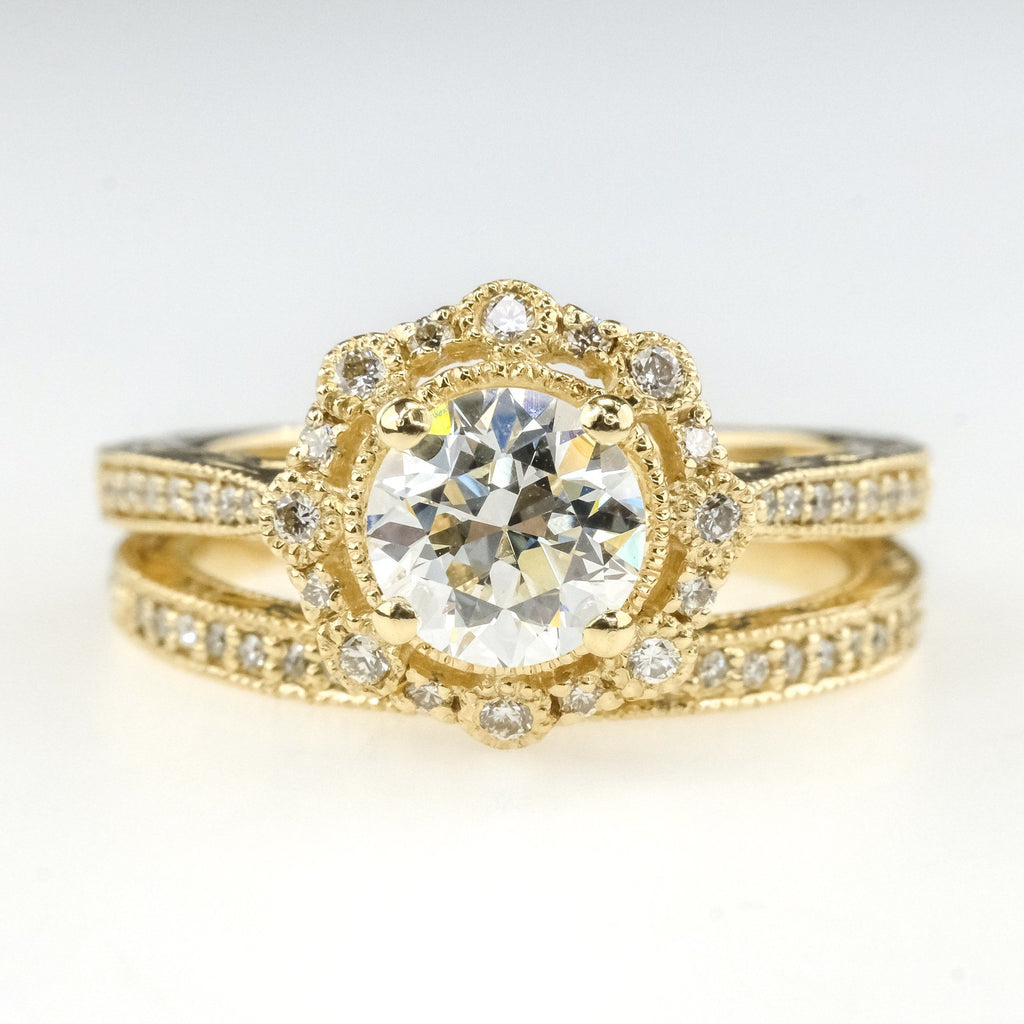 0.93ct VS2/H Certified Round Diamond Halo Accented Bridal Set in 14K Yellow Gold Bridal Sets Oaks Jewelry