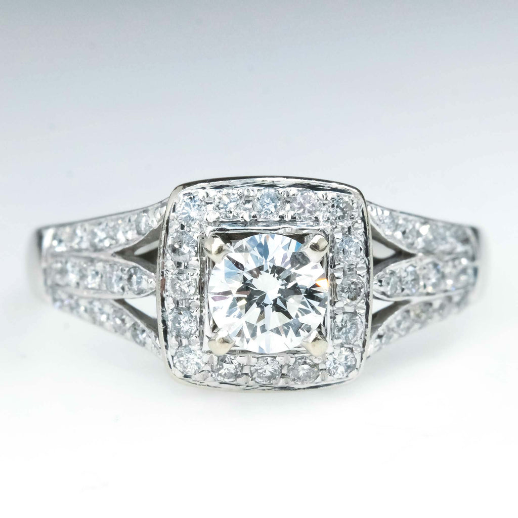 0.98ctw Round Diamond Halo & Split Shank Engagement Ring in 14K White Gold Engagement Rings Oaks Jewelry