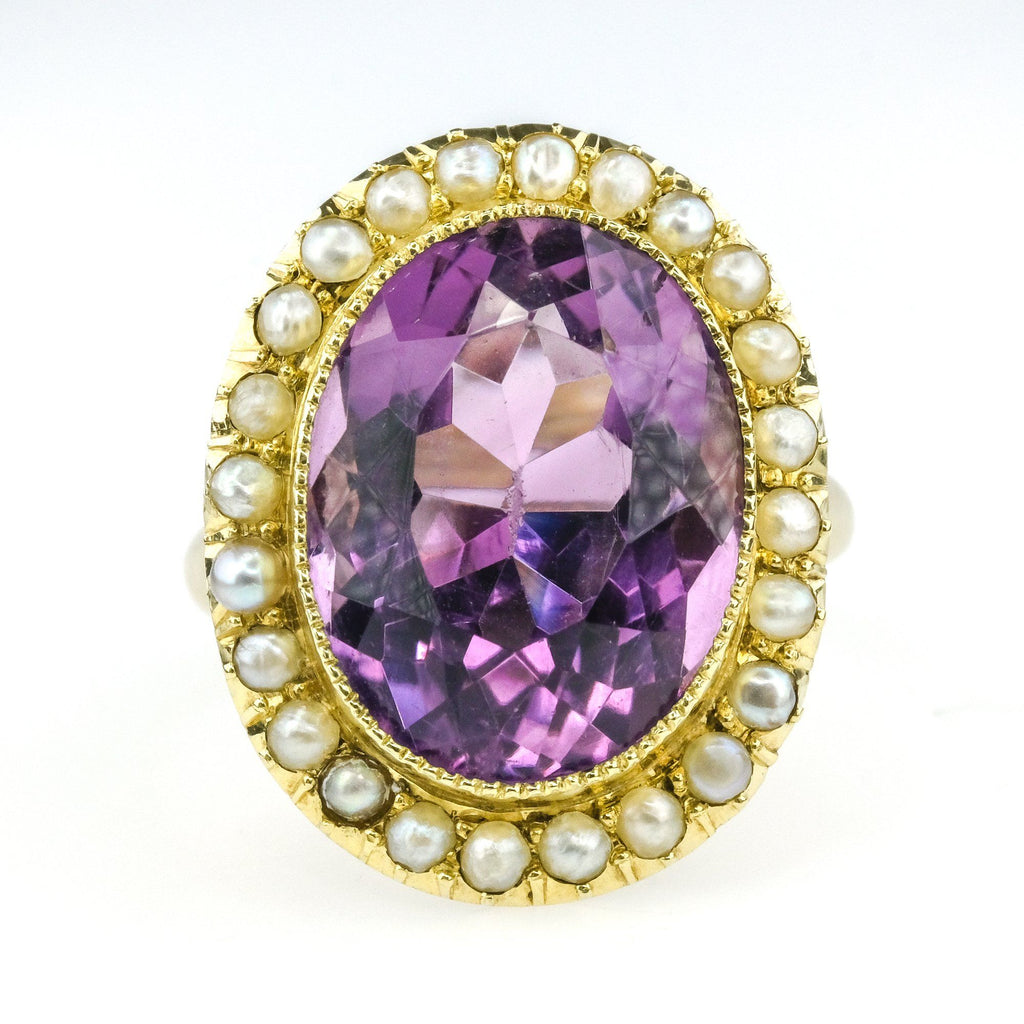 10.00ct Purple Amethyst with Pearl Accents Halo Gemstone Ring in 14K Yellow Gold Gemstone Rings Oaks Jewelry