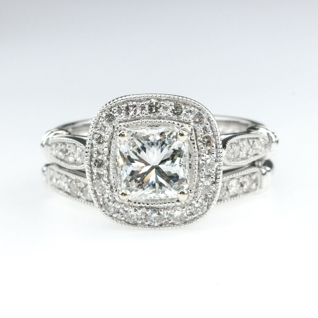 1.00ct Certified Princess Cut Diamond Halo Accented Bridal Set in 14K White Gold Bridal Sets Oaks Jewelry