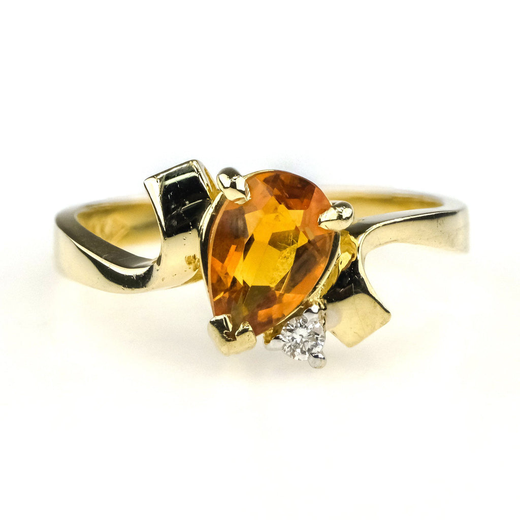 1.00ct Citrine with Diamond Ring in 14K Yellow Gold Gemstone Rings Oaks Jewelry