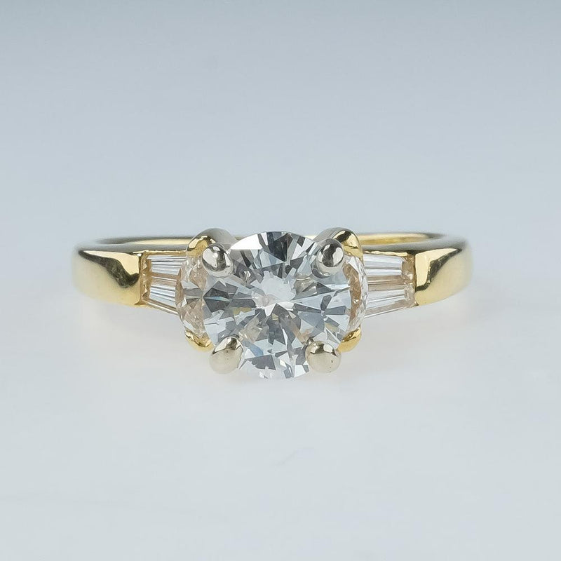 1.00ct Diamond Solitaire & Side Stones Engagement Ring 18K Yellow Gold Engagement Rings Oaks Jewelry