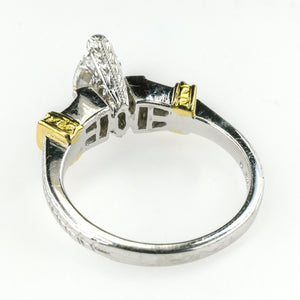 1.00ct EGL Marquise Diamond VVS2/F & Side Accented Engagement Ring 18K Two Tone Engagement Rings Oaks Jewelry
