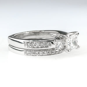 1.00ct GIA Princess Cut Diamond w/ Accents Bridal Set 18K White Gold Bridal Sets OaksJewelry